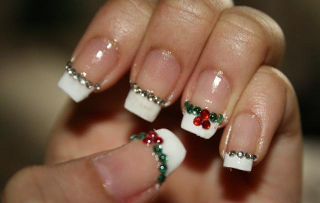Easy And Best Christmas Nail Art Design French Manicure With Rhinestone Stickers