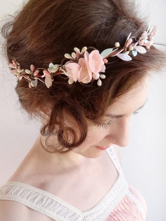 mint hair piece floral crown mint flower circlet blush pink hair accessories mint wedding bridal hairpiece bridal circlet bridesmaid new
