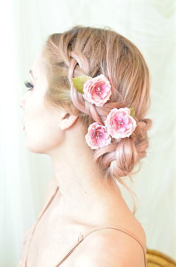 rose hair pins pink flower clips