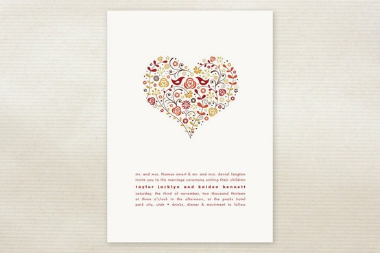 Cute Wedding Invitation With Heart Vector Free Invitations