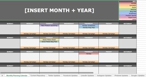 captura de pantalla de Microsoft Excel convertido en calendario de publicaciones en redes sociales