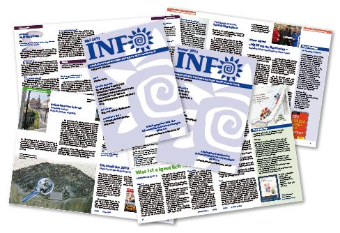 Montage einiger bisherigen Ausgaben der INFO-Zeitung