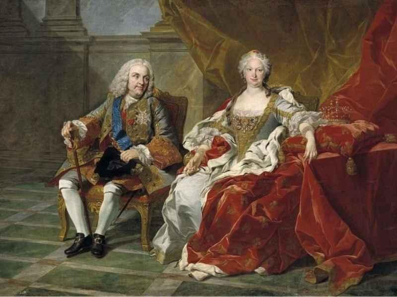 Felipe V e Isabel de Farnesio retratados por Louis-Michel van Loo.