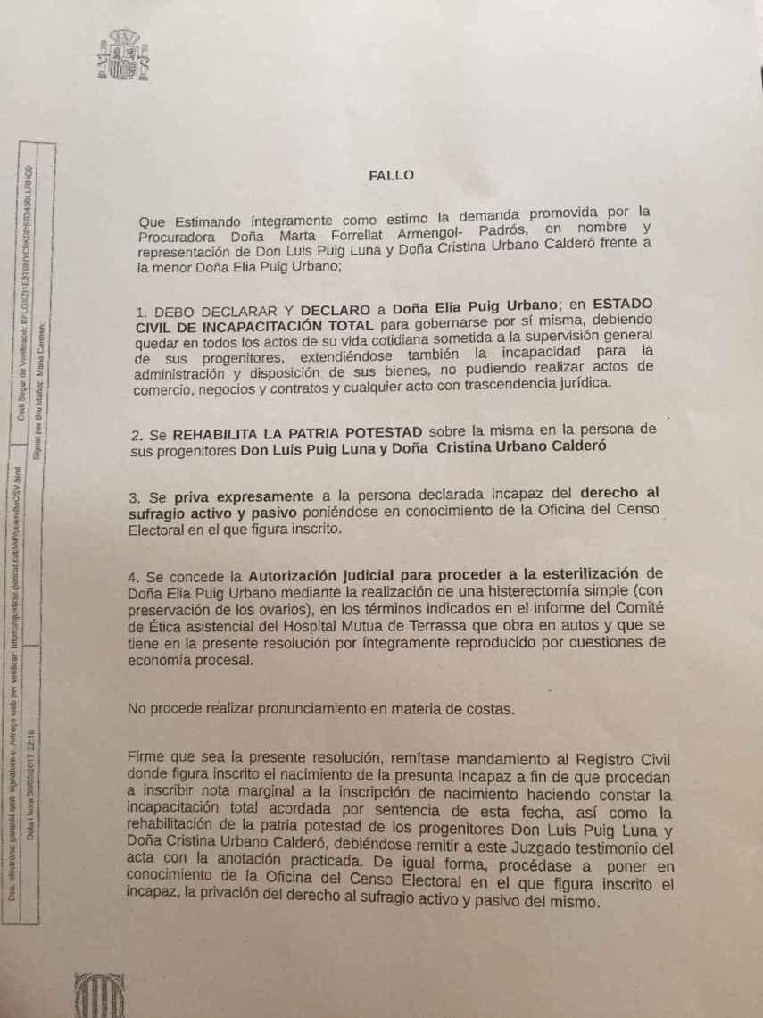 El Juzgado de Primera Instancia Nº8 de Terrassa ha fallado a favor de Cristina y Elia