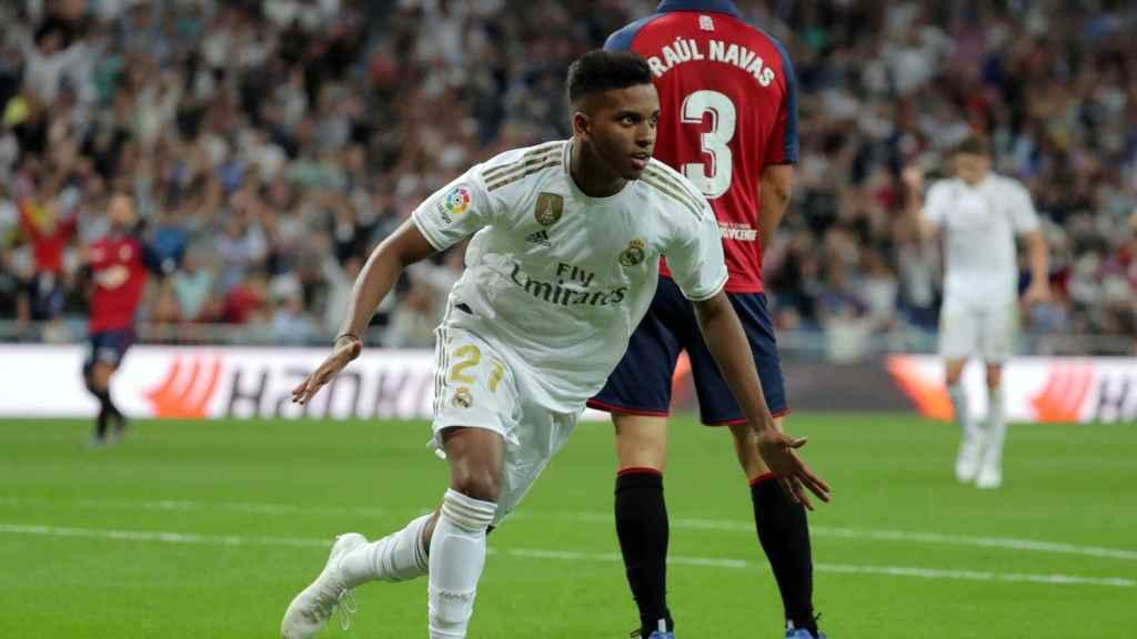Rodrygo comemora seu gol contra o Osasuna
