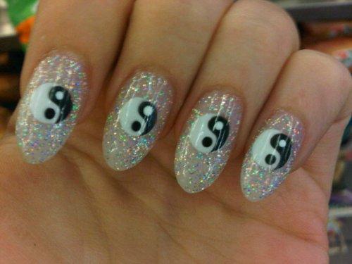 Glitter Nail Art Nails Ying Yang Yng