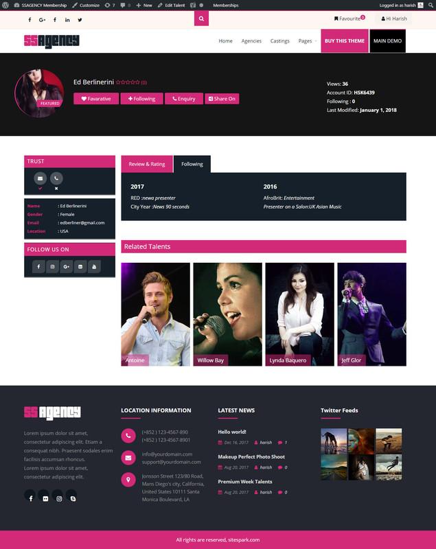 Talent Profile Pages