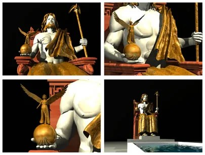 A Estátua de Zeus. Reprodução em 3D