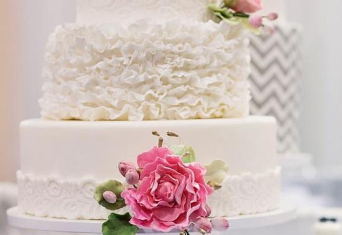 White Ruffly 3 Tier Wedding Cake By The Sweet Side 1919782 Weddbook