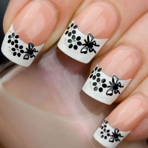 Black And White French Tip Nail Art Nails Polish