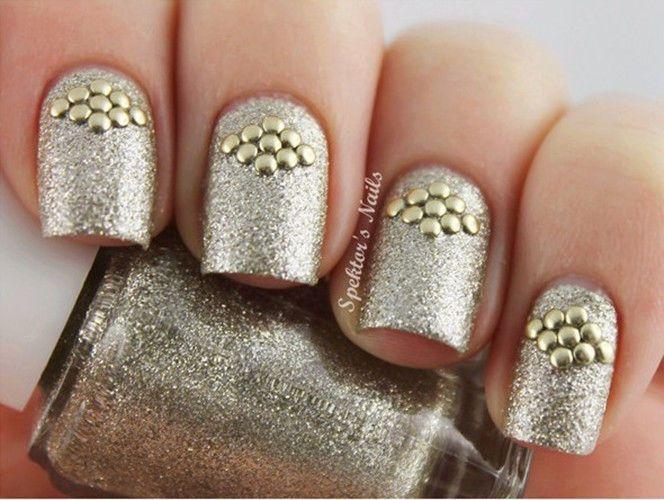 Golden Stud Rhinestone Acrylic Uv Gel Nail Art 1 Bag 5mm
