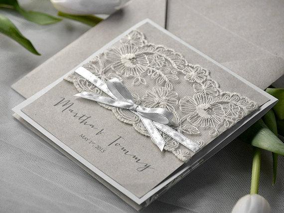 Eco Lace Wedding Invitation Pocket Fold Invitations