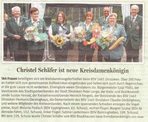 Kreisdamen-Vogelschießen beim BSV 1461 Dinslaken – 05.09.2015