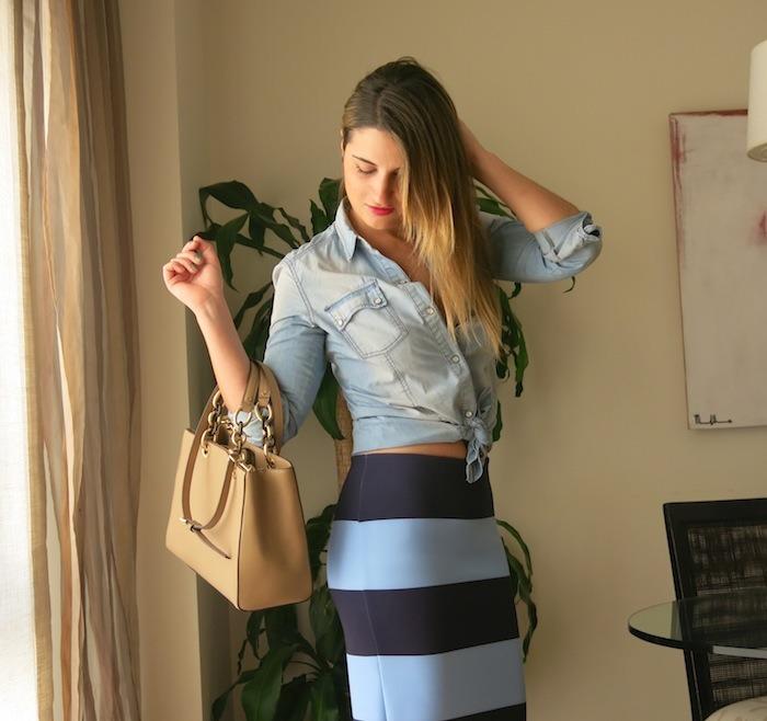 stripped skirt zara michael kors amaras la moda 2