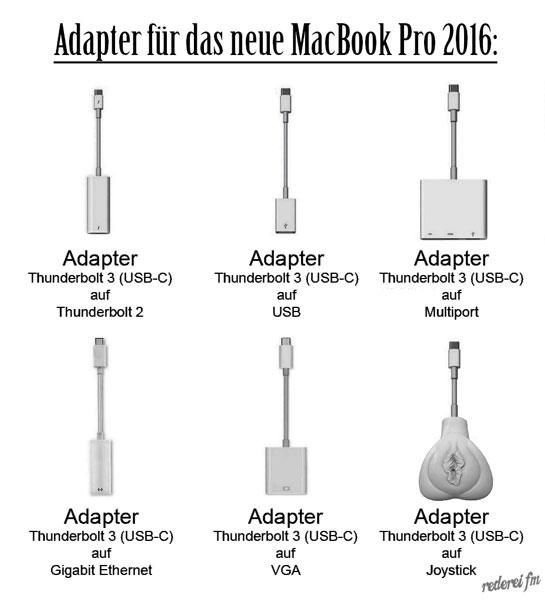 Übersicht im Adapterdschungel des neuen MacBook Pro 2016.