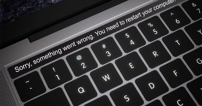 Die vielfältigen Möglichkeiten der Touch Bar. Hier: Fehlermeldung.