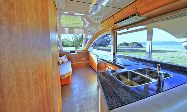Interior view of the CaraBoat – it's big enough to be livable.