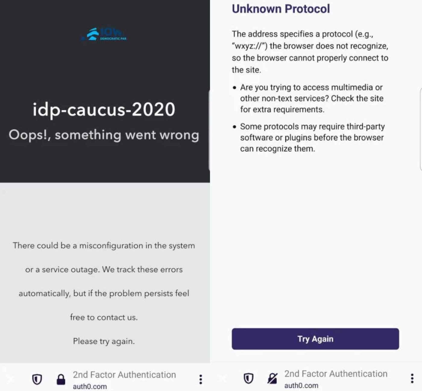 Mensajes de error en la app usada en las primarias demócratas