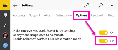 presentation mode in Power BI on Surface Hub