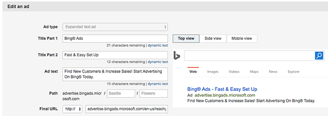 Bing Ads Expanded Text Ads : Edit an ad