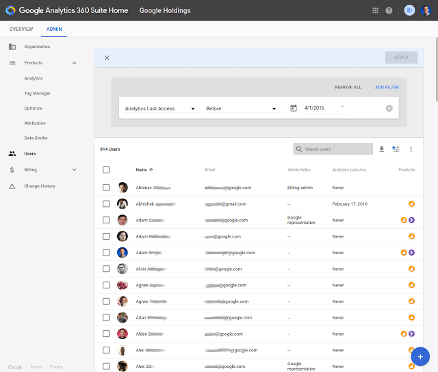 google analytics 360 suite users filtering