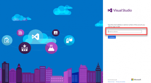 New simplified Microsoft VSTS login page