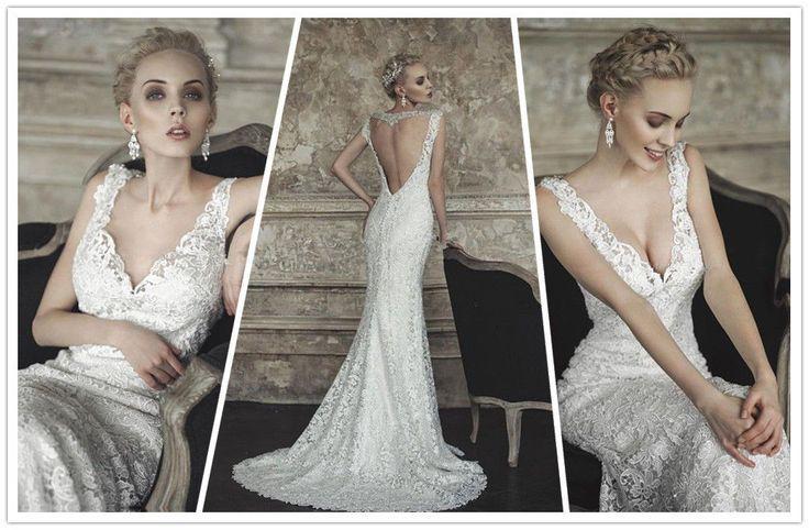 Deep V-Neckline Lace Sheath Wedding Dress #2154871