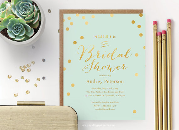 Printable Bridal Shower Invitation Mint With Gold Dots Editable Instant New