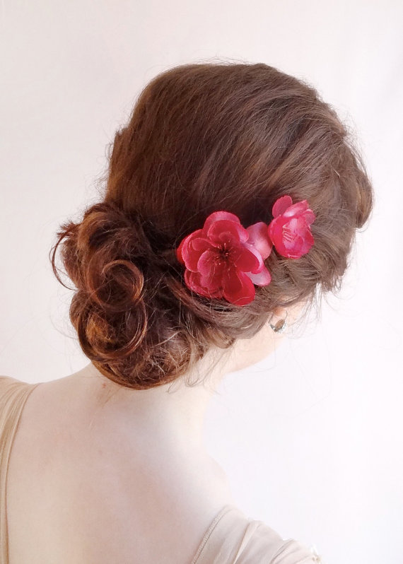 raspberry pink hair pins bright pink flower hair accessories