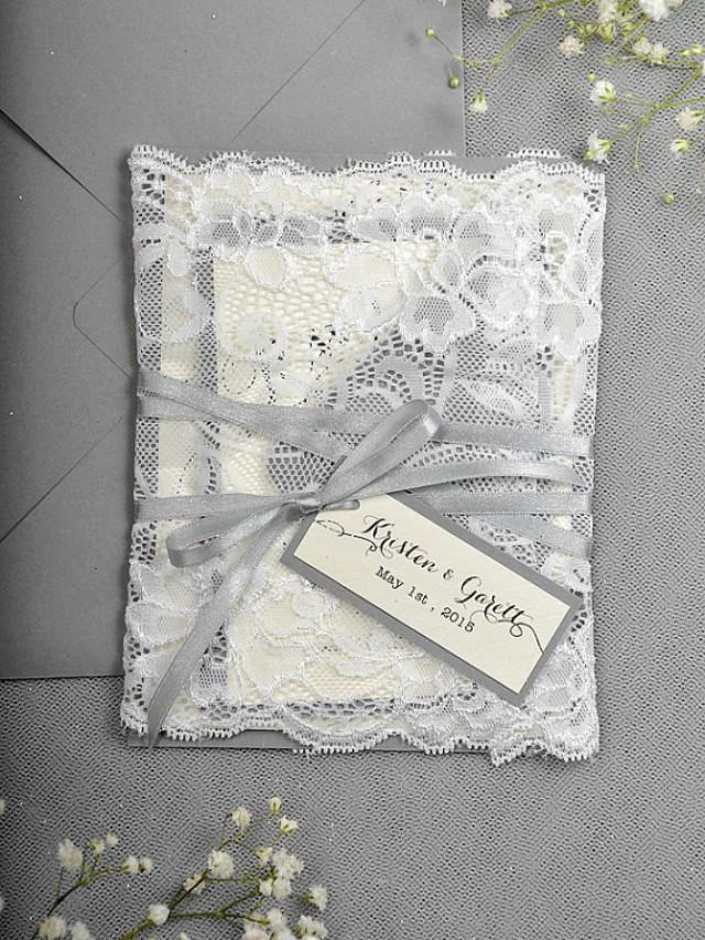 Silver Glitter Wedding Invitation Lace Grey Invitation