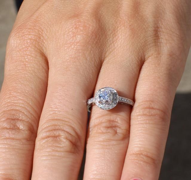 HALO Round Diamond Engagement Ring 67 Cttw 12 Carat