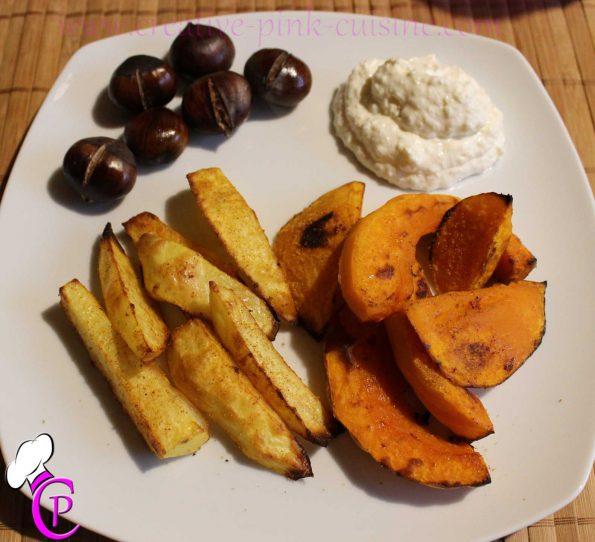 Herbstgemüse (Maronen, Kartoffeln & Hokkaido Kürbis) mit Parmesan-Dip