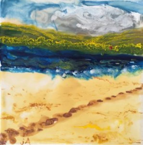 South Downs IV, encaustic on canvas, 8 by 8 inches