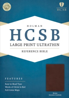 HCSB Large Print Ultrathin Reference Bible, Brown Genuine Cowhide Book Cover