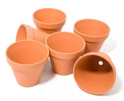pots en terre cuite 12 cm de hauteur 13 cm o 6 pieces