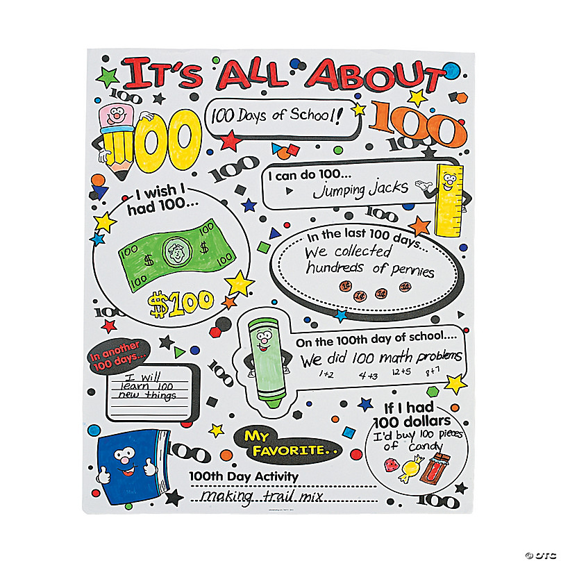 color your own it s all about 100th day of school poster set