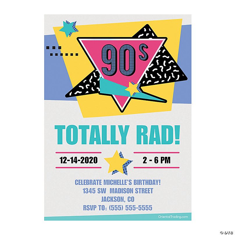personalized 90s birthday party invitations