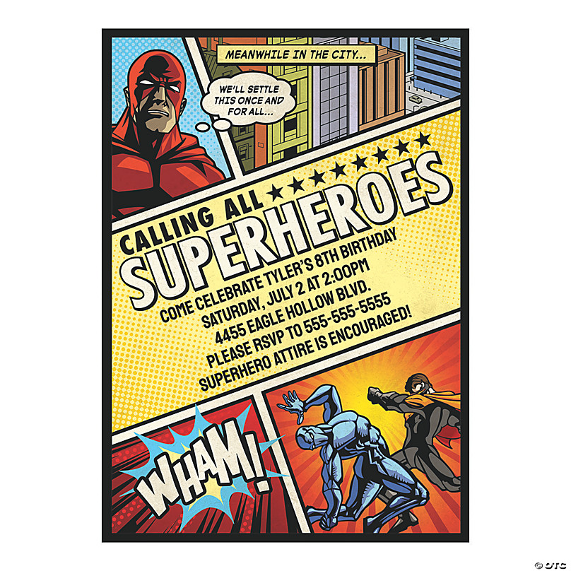 personalized comic superhero party invitations
