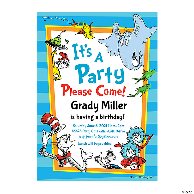 Personalized Dr Seuss Birthday Party Invitations Oriental Trading