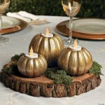 Gold Glitter Pumpkin Votive Candle Holders