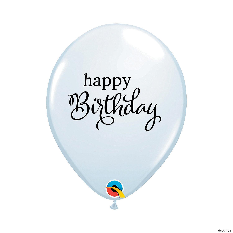 White Happy Birthday 11 Latex Balloons Oriental Trading