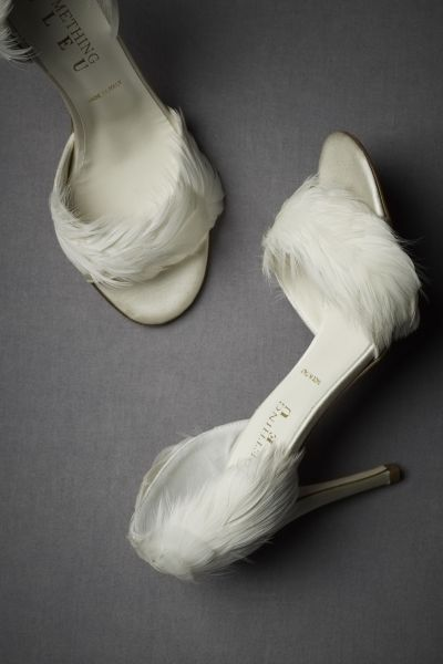 Feather Trimmed d Orsays in Bride   BHLDN Ivory Feather Trimmed d Orsays   BHLDN