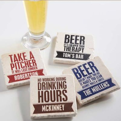 Beer Quotes Tumbled Stone Coasters Set Of 4 Bed Bath