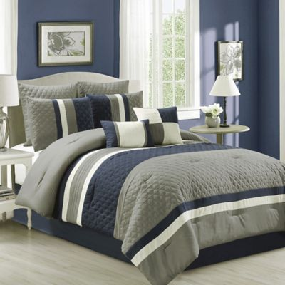 Patchwork 8 Piece Comforter Set In NavyGrey Bed Bath Amp Beyond