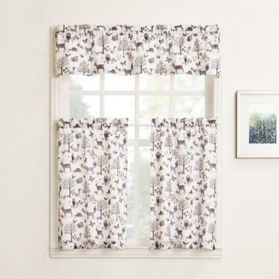 No 918 Forest Friends Rod Pocket Kitchen Window Curtain Tier Pair And Valance Bed Bath Amp Beyond