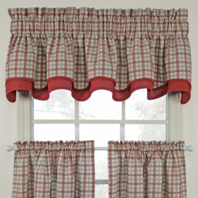 Bristol Plaid Double Valance In Red Bed Bath Amp Beyond