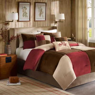Madison Park Jackson Blocks 7 Piece Comforter Set In Red
