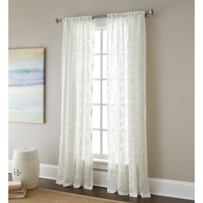 Sherry Kline Leaves Rod Pocket Embroidered Sheer Window Curtain Panel Bed Bath Amp Beyond