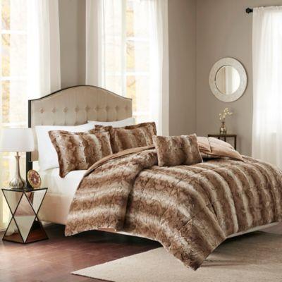 Madison Park Zuri Faux Fur 4 Piece Comforter Set Bed