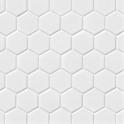 hex gloss white porcelain mosaic tile 2 x 2 in